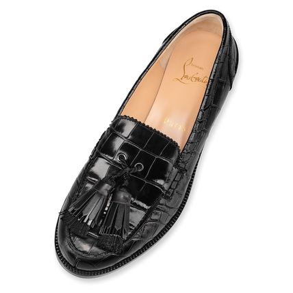 Christian Louboutin Casual Style Tassel Plain Leather Loafer & Moccasin Shoes