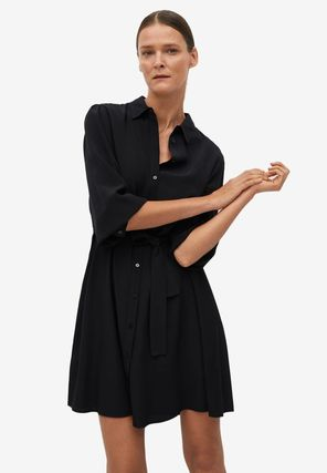 Flared Long Sleeves Plain Medium Party Style Office Style