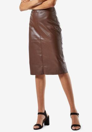 Pencil Skirts Casual Style Faux Fur Plain Medium Party Style