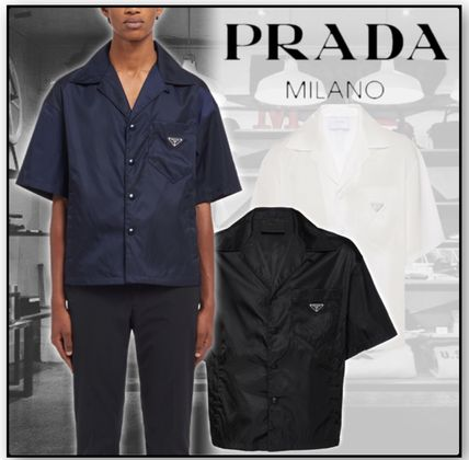 PRADA Shirts Button-down Unisex Nylon Short Sleeves Logo Front Button