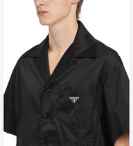 PRADA Shirts Button-down Unisex Nylon Short Sleeves Logo Front Button 5