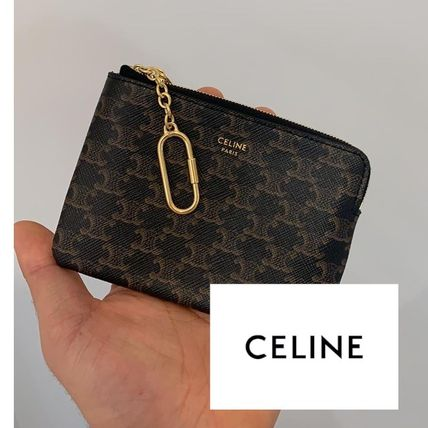 CELINE Triomphe Coin & Card Pouch In Triomphe Canvas