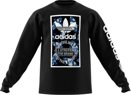 adidas Long Sleeve Crew Neck Pullovers Unisex Street Style Long Sleeves Cotton 2