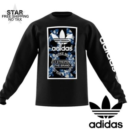 adidas Long Sleeve Crew Neck Pullovers Unisex Street Style Long Sleeves Cotton
