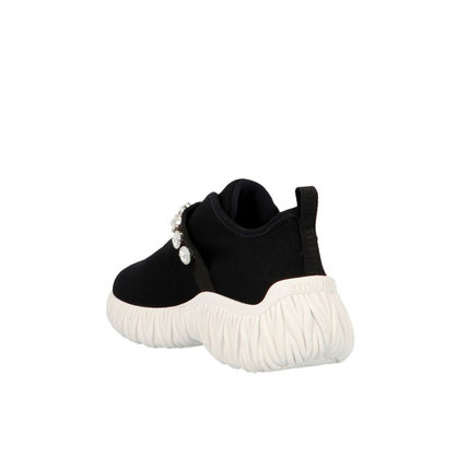 Round Toe Rubber Sole Plain Elegant Style Low-Top Sneakers