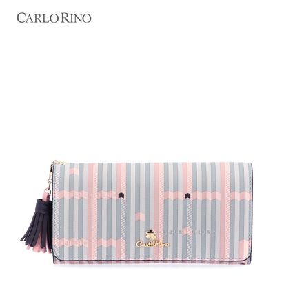 Stripes Tassel Folding Wallet Logo Long Wallets