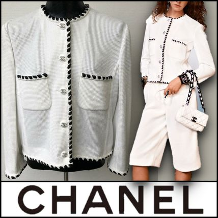 CHANEL Casual Style Street Style Bi-color Plain Medium Party Style