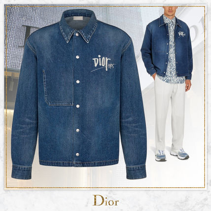 DIOR HOMME Shirts Button-down Street Style Long Sleeves Cotton Oversized Logo