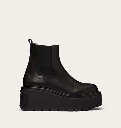 VALENTINO Rubber Sole Casual Style Plain Leather Formal Style  Logo
