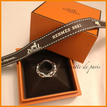HERMES Chaine dAncre Casual Style Unisex Party Style Silver Office Style
