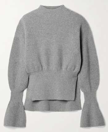 Casual Style Wool Cashmere Long Sleeves Medium Puff Sleeves