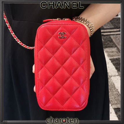 CHANEL TIMELESS CLASSICS Casual Style Calfskin 2WAY Chain Plain Leather Party Style