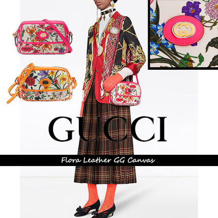 GUCCI Flower Patterns Casual Style Canvas Vanity Bags Leather