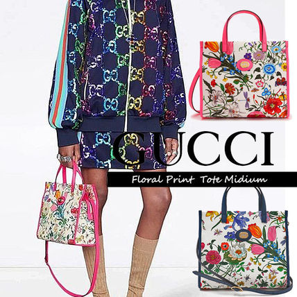 GUCCI Flower Patterns Casual Style Unisex Canvas Vanity Bags 2WAY