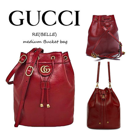 GUCCI RE BELLE Casual Style Unisex Tassel Vanity Bags 2WAY Plain Leather