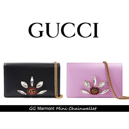 GUCCI GG Marmont Casual Style Plain Leather Party Style With Jewels