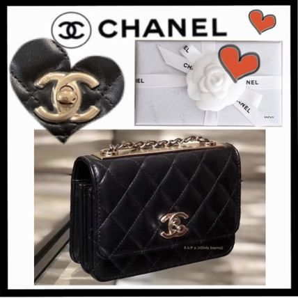 CHANEL CHAIN WALLET Casual Style Lambskin Chain Plain Elegant Style Crossbody
