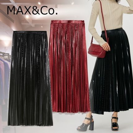 Max&Co. Casual Style Pleated Skirts Plain Long Party Style Midi