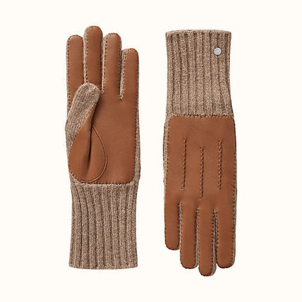 HERMES Cashmere Plain Leather Logo Leather & Faux Leather Gloves
