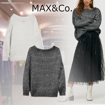 Max&Co. Crew Neck Casual Style Wool Nylon Long Sleeves Plain Cotton