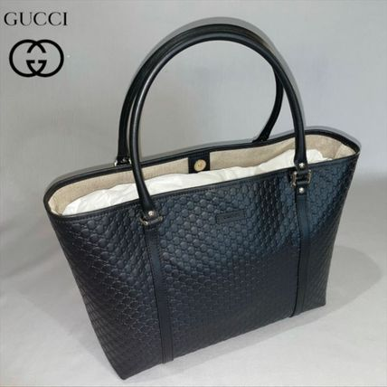 GUCCI Unisex A4 Plain Leather Logo Totes