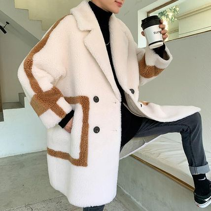 Short Plain Shearling Front Button Chester Coats