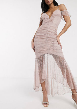 Flared V-Neck Long Party Style Lace Elegant Style Icy Color
