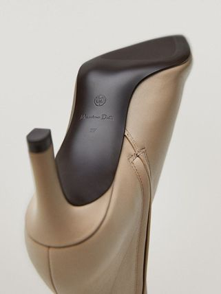 Massimo Dutti Plain Leather Pin Heels Elegant Style Boots Boots
