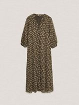 Massimo Dutti Dresses Flower Patterns Casual Style A-line V-Neck Long Sleeves 5