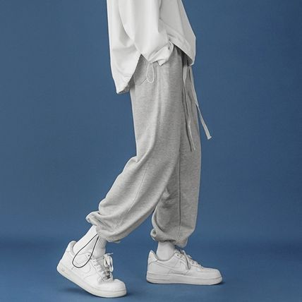Tapered Pants Unisex Sweat Street Style Plain Pants
