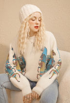 ELF SACK Short Casual Style Blended Fabrics Long Sleeves Cropped