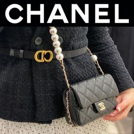 CHANEL MATELASSE Crossbody Logo Casual Style Blended Fabrics 2WAY Chain Plain