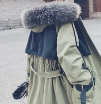 Stand Collar Coats Casual Style Faux Fur Bi-color Long