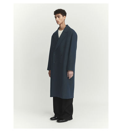 Unisex Wool Blended Fabrics Street Style Plain Long
