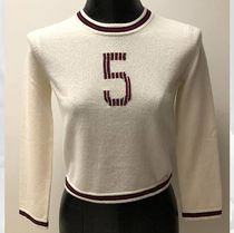 CHANEL ICON Crew Neck Casual Style Cashmere Blended Fabrics Long Sleeves