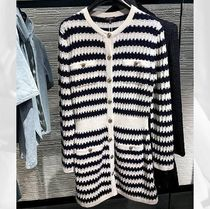 CHANEL ICON Crew Neck Short Stripes Casual Style Blended Fabrics