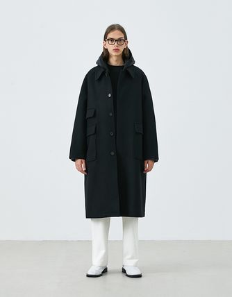 Stand Collar Coats Unisex Wool Blended Fabrics Street Style