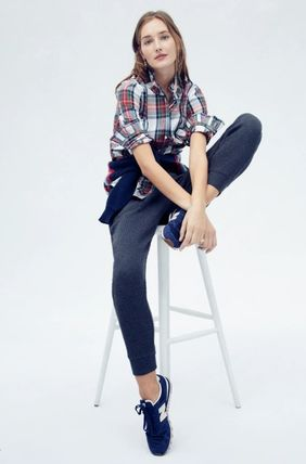 Tartan Casual Style Long Sleeves Cotton Office Style