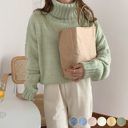Casual Style Long Sleeves Plain Medium Oversized Icy Color