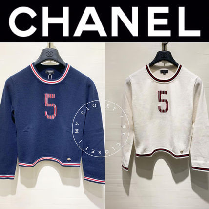 CHANEL ICON Casual Style Cashmere Street Style Long Sleeves Plain Medium