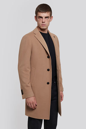 Wool Cashmere Long Logo Coats