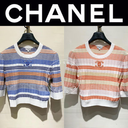 CHANEL ICON Stripes Casual Style Street Style Cropped Medium Handmade