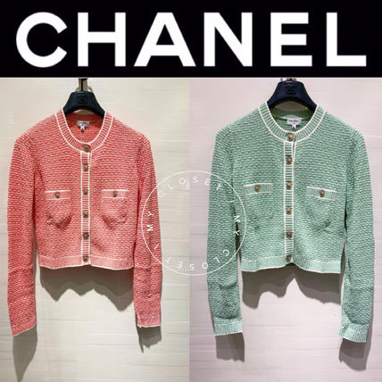 CHANEL ICON Flower Patterns Casual Style Street Style Long Sleeves Plain