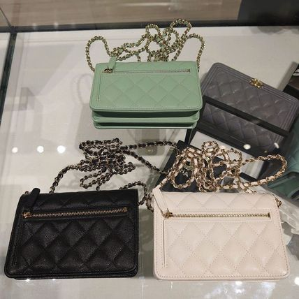 CHANEL Casual Style Calfskin Lambskin 2WAY 3WAY Chain Plain Leather