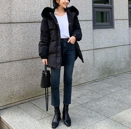 Casual Style Fur Plain Medium Party Style Office Style