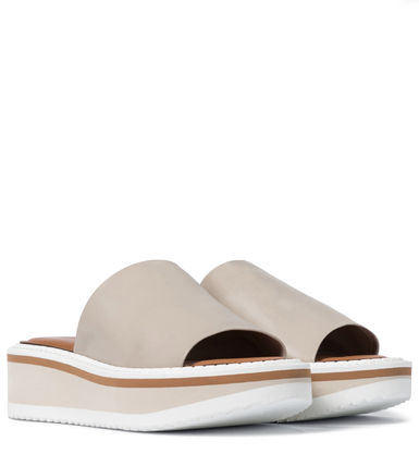 Platform Round Toe Rubber Sole Casual Style Plain Leather