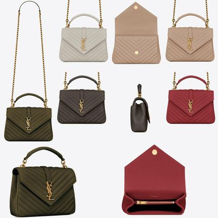 Saint Laurent COLLEGE Casual Style Plain Leather Party Style Office Style