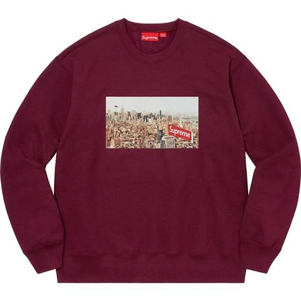Supreme Sweatshirts Crew Neck Pullovers Unisex Street Style Long Sleeves Plain 13