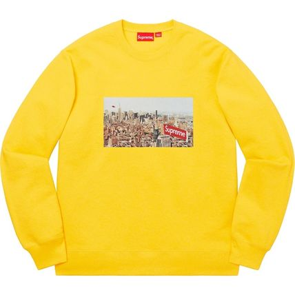 Supreme Sweatshirts Crew Neck Pullovers Unisex Street Style Long Sleeves Plain 19