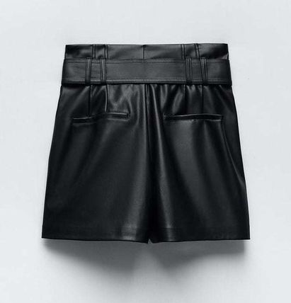 ZARA Casual Style Faux Fur Leather & Faux Leather Shorts